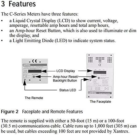 Xantrex CM//R 50 Remote DIGITAL METER 50 ft CABLE for C35 C40 C60 Controller