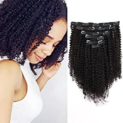 AmazingBeauty 8A Grade Big Thick Real Remy Human 3C 4A Double Weft Afro Curly Clip In Hair Extensions for African American Black Women, Natural Black, 120 Gram, 16 Inch