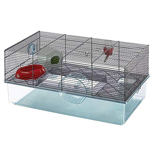 Favola Hamster Cage | Includes Free Water Bottle, Exercise Wheel, Food Dish & Hamster Hide-Out | Large Hamster Cage Measures 23.6L x 14.4W x 11.8H-Inches & Includes 1-Year Manufacturer's Warranty (Best Cage For Teddy Bear Hamster)