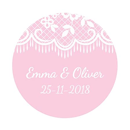 Ekunstreet 48x personalised 40mm wedding favour white lace stickerspink wedding favour sticker