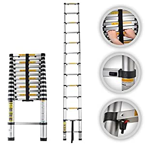 MAXCRAFT 82654481 - Escalera Telescópica de Aluminio Plegable Multi-propósito Seguridad Extensible con Protección del dedo Plegable Peldaños, 3.80 m