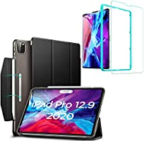ESR iPad Pro 2020 ケース iPad Pro 2020 & 2018モデル 強化ガラスフィルム付き [オートスリープ/ウェイク] [Apple Pencil 2ワイヤレス充電対応] イッピー三つ折りスマートケース 留め具付き