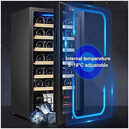 LLZH Vinoteca Frigorífico, Refrigerador Vino Compresor, Nevera de Vino Barra Mostrador, con Puerta con Cerradura, Control Digital, Estantes Ajustables, 24/28 Botellas de Gran Capacidad,24 Bottle