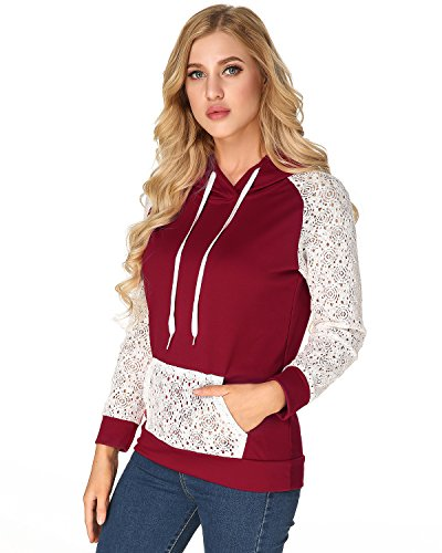 Hooded Lace (StyleDome Women's Hoodies Hooded Sweatshirt Lace Long Sleeve Front Pocket Pullover Wine Red XL)