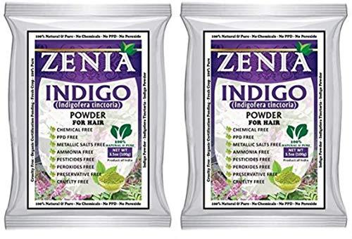 Zenia Indigo Powder (Indigofera Tinctoria) Hair/Beard Dye Color 100 grams (Pack Of 2) by Zenia