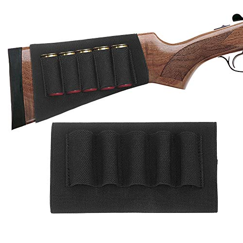 TacticalGear Butt Stocks for Shotguns - Stock Ammo Carrier - Shotgun Shell Holder - Shotshell Holder Buttstock Butt Stock Ammo Pouch Accessories Hunters Butt Stock for Butt Stock Black (Stock Shell Shotgun)