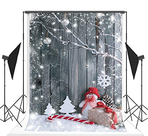 Kate 6.5x10ft Wood Seamless Photo Backdrops Christmas Backgrounds for Pictures Snowman Branches Party Booth Props