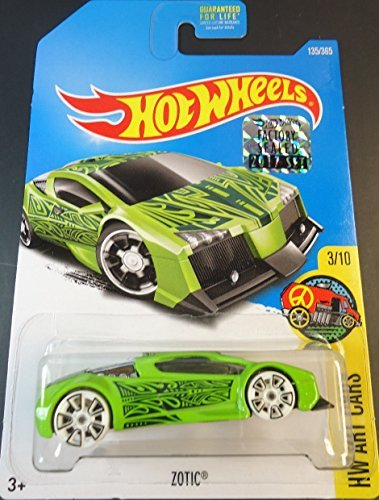 Mattel Hot Wheels Hw Art Cars - Zotic (Green) - Includes Factory Sealed 2017 Sticker on Card! (Stickers Cars Hot Wheels)