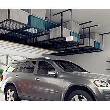 FLEXIMOUNTS 4x8 Overhead Garage Storage Rack Adjustable Ceiling Garage Rack Heavy Duty, 96  Length x 48  Width x (22''-40  Ceiling Dropdown), Black (Two-Color Options)