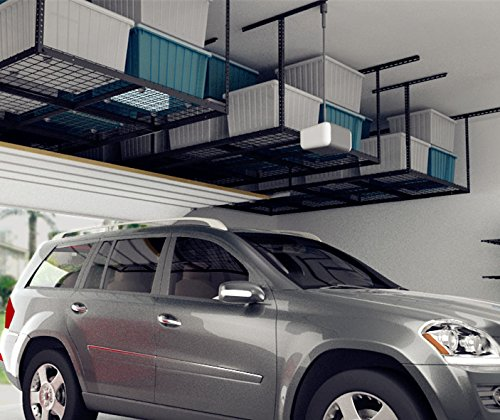 FLEXIMOUNTS 4x8 Overhead Garage Storage Rack Adjustable Ceiling Garage Rack Heavy Duty, 96'' Length x 48'' Width x (22''-40'' Ceiling Dropdown), Black (Two-Color Options) by FLEXIMOUNTS