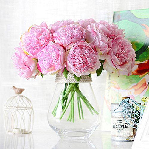 1Bouquet 5 Heads Artificial Peony Silk Flower Leaf Home Bridal Wedding Party Festival Bar Decor (Peony Flower Bouquet)