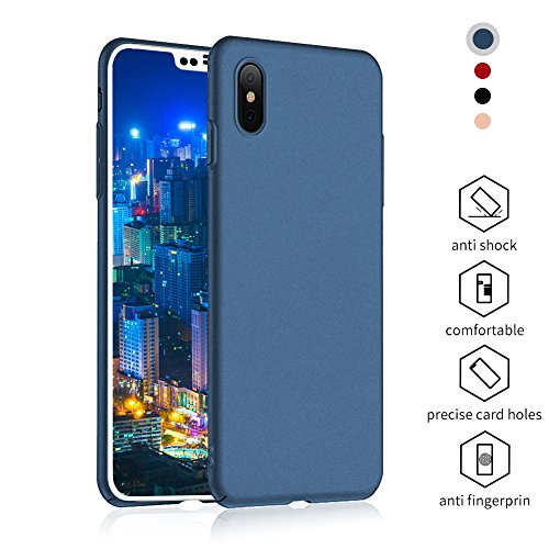 iPhone X Case,iPhone X Protective Slim Case Design with Shockproof and Antiskid,Full Cover Case for iPhone X Only,Made with Premium Resin in Blue by Meidu