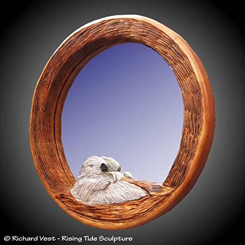 Sea Otter with Abalone Round Wall Mirror ()