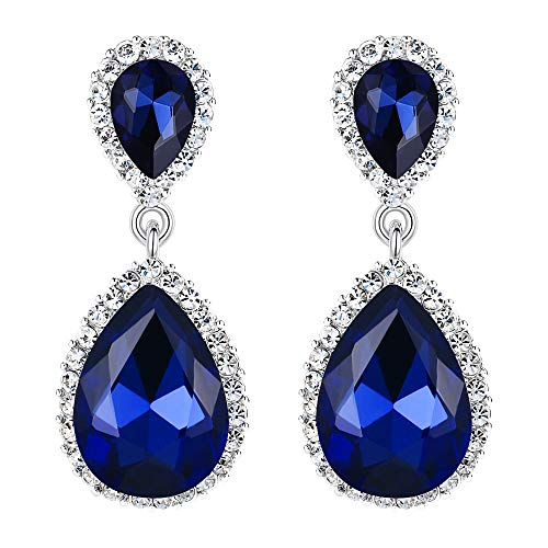 EVER FAITH Women's Austrian Crystal Wedding Tear Drop Dangle Earrings Navy Blue Silver-Tone