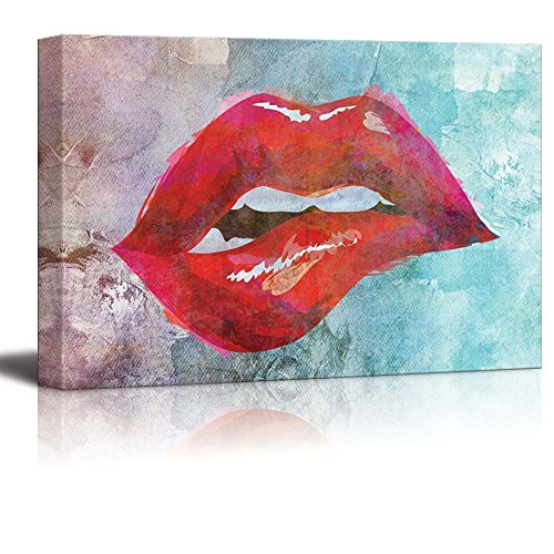 (wall26 Painting of a Lip Bite on a Canvas Watercolored Background - Canvas Art Home Decor - 12x18)