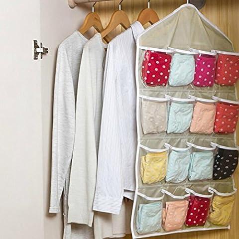 DZT1968 Multifunction Clear Socks Shoe Underwear Sorting Storage Bag Door Organizer (Beige)