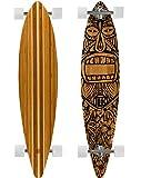 Bamboo Skateboards Hard Good Tiki Man Long Board Complete, 44 x 9.5-Inch, Natural Top (Pintail)