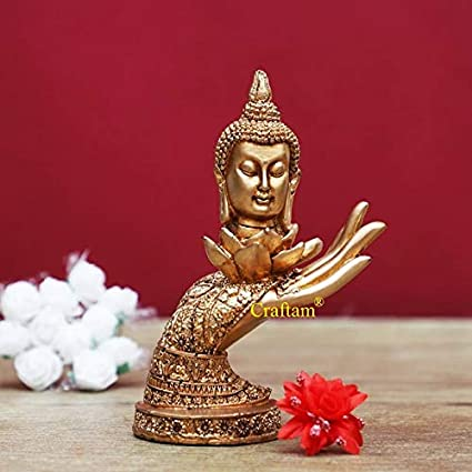 Craftam� Beautiful Handcrafted Attractive Buddh Face On Hand Decorative Showpiece