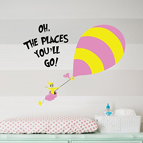 Place Decals (Designer Playground Dr Seuss Hot Air Balloon Oh the Places You'll Go wall decal ( 36W X 28H Inches ) K152)