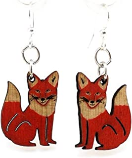 product image for Green Tree Jewelry Red Fox Wooden Lasercut Earrings #1292