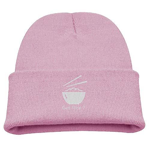 Banana King Got Rice Logo Chopsticks Bowl Food Text Baby Beanie Hat Toddler Winter Warm Knit Woolen Watch Cap for Kids