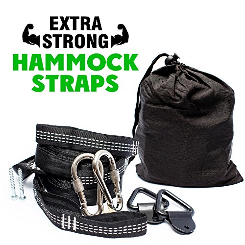 Premium Hammock Straps with Carabiners - Fits ALL Hammock Brands - 9 Ft Long, Extra Strong & Lightweight - No Stretch Polyester | FREE Bonus Hanging Kit ($10.00 Value) - Quick & Easy Setup