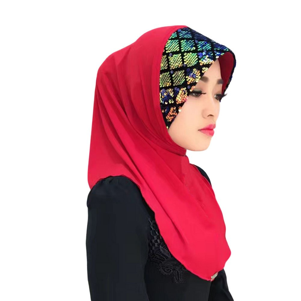 Meijunter Muslim Head Scarf Sequins Splicing Hat Hijab Islamic Soft Scarf Shawl Junsi