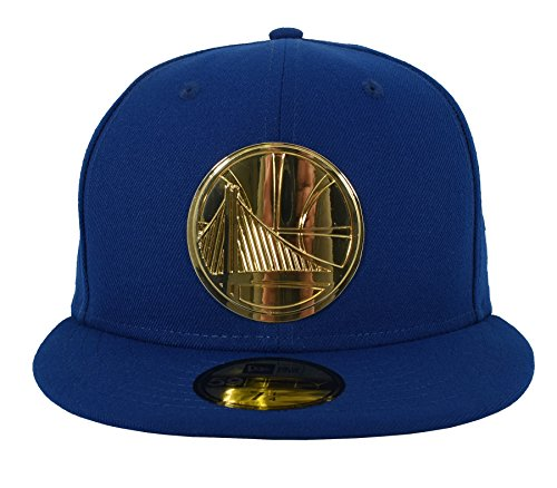 - New Era 59FIFTY Golden State Warriors Metal Logo Fitted Cap Blue/Gold 7 3/4