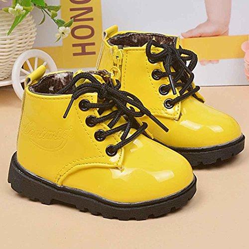 Hunpta Winter-Baby jungen Mädchen Kind Armee Stil Martin Stiefel warme Schuhe (Alter: 12-18M, Gelb) Gelb