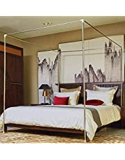 Mengersi Stainless Steel Bed Canopy Frame Bed Post Poles Brackets (Queen, Silver)