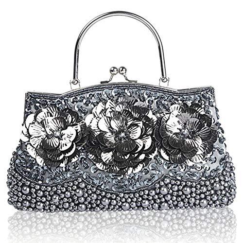 EROUGE Vintage Beaded Sequin Handbag Designer Evening Flower Purse Large Clutch Bag (Gray)
