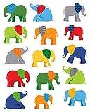 Parade of Elephants Shape Stickers
