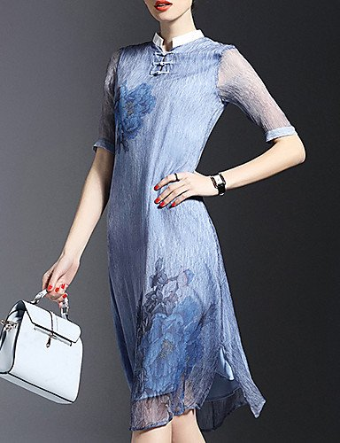 PU&PU Robe Aux femmes Gaine Street Chic,Fleur Mao Mi-long Soie , blue-l , blue-l