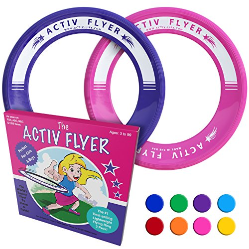 Activ Life Best Family Frisbee Rings [Pink/Purple] Super Fun Birthday Presents - Cool Toys for Girls & Friends to Play Outdoor Toss Games in Backyard, Pool or Park - Mothers Mom Niece Ideas