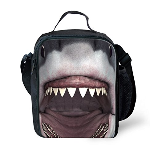 Price comparison product image KIds Insulated Lunch Bags For Food Children 3D Shark Lunch Tote Box Meals With Shoulder Adjustable Strap And Water Bottle Holder