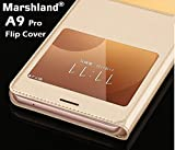 Marshland High Quality Double Window PU Leather Finish Flip Cover Case For Samsung Galaxy A9 Pro / Samsung A9 Pro (Gold)