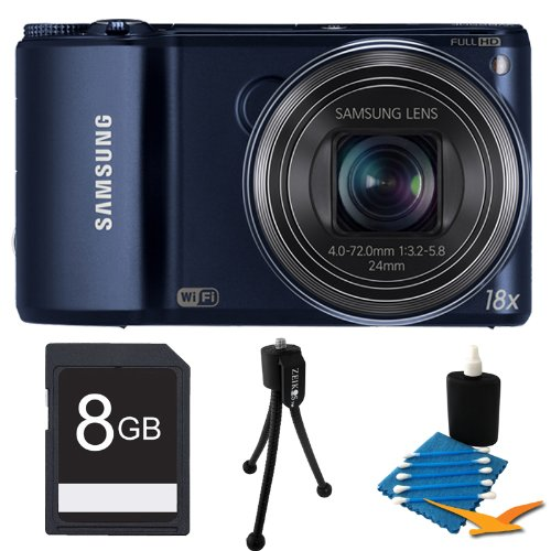 "Samsung WB250F Smart Digital Camera, 14.2 Megapixel, 18x Optical Zoom, 3.0"" LCD Display, Wi-Fi, Cobalt Black Bundle Includes 8 GB Memory Card, Card Reader, Deluxe Carrying Case, Mini Tripod, and 3Pcs. Lens Cleaning Kit."