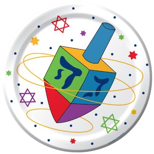 - Creative Converting 416420 8 Count Paper Dessert Plates, Hanukkah Festivities, White/Blue