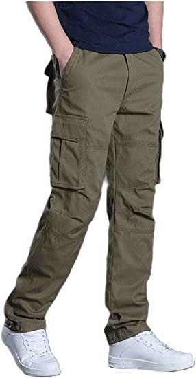 Romancly Men's Multi Pockets Long Pants Thicken Relaxed Straight Cargo Pant