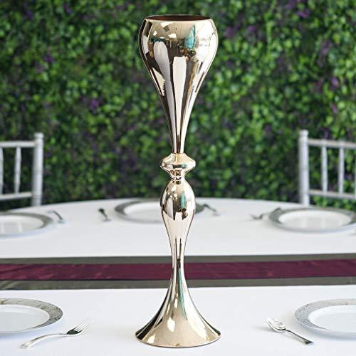 "(Efavormart 25"" Tall Metallic Gold Floral Trumpet Vase Riser Wedding Centerpiece for Wedding Events)"