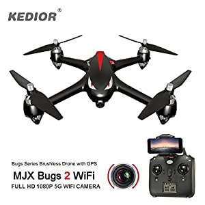 Drones with Camera Live Video and GPS Return Home,Bug 2 FPV Drone with Professional Brushless Motors 1080P 5G Wifi Camera,1km Remote Control Distance, Headless Mode,Gift For Men by KEDIOR