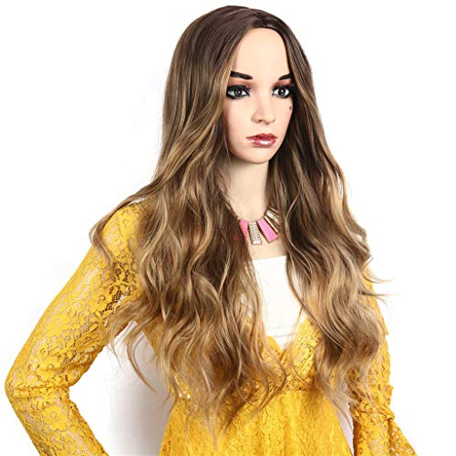Long Curly Middle Wavy Women Gradient Synthetic Heat Resistant Cosplay Daily Sexy Wigs Natural 30Inch (A) -