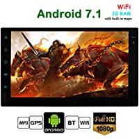 Upgrade Version Android 7.1 Auto System! 7 inch Double 2 Din Car Video Player Bluetooth GPS Navigation Full Touch Screen Car Stereo Radio Unit support Wifi Mirror link 1080P OBD2 USB SD Dual CAM-IN