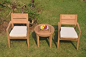 2 Seats 3 Pcs Grade-A Teak Wood Dining Set: Noida Round Side Table and 2 Vellore Stacking Arm Chairs #WHDSVL45