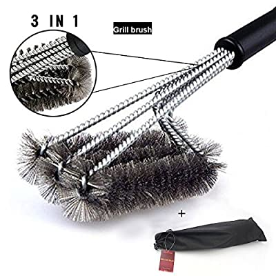 BBQ Grill Brush bristle free, BBQ Brush for Grill - No Falling Metals, safe Barbecue Grill Brush and Scraper, Best Grill Cleaner - 3 in 1 Grill Cleaning Brush for Barbecue Lovers by DeroTeno