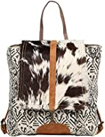 Myra Bag Grizzle Cowhide /& Upcycled Canvas Backpack S-1205 MY-S-1205
