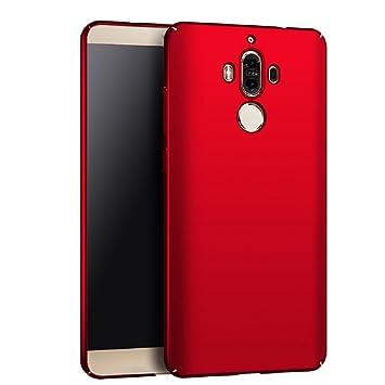Apanphy Huawei Mate 9 Carcasa, Alta calidad Ultra Slim Hard sedoso Scrub Shell plena protección trasera piel siento cover para Huawei Mate 9 Rojo