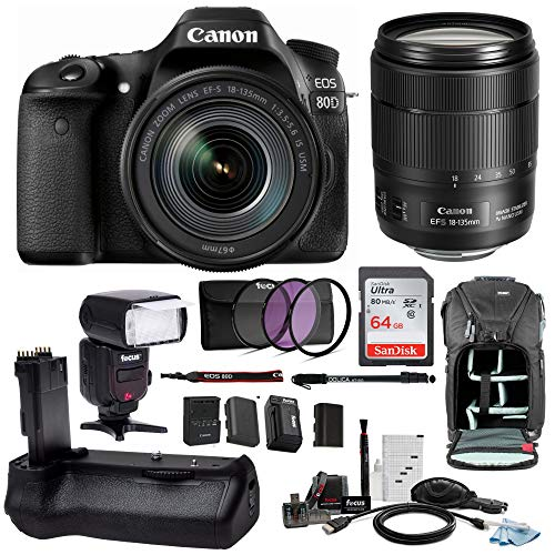 Canon EOS 80D DSLR Camera with EF-S 18-135mm f/3.5-5.6 is USM Lens with 64GB SD Card + Battery Grip & Zoom Swivel Flash Holiday Bundle