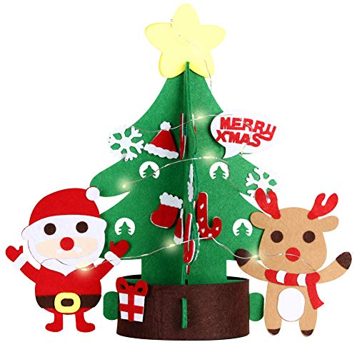 DIY Felt Christmas Tree Set + 32 pcs Detachable Ornaments Xmas Gifts Toys for Christmas Decorations Felties Craft Activities Kits