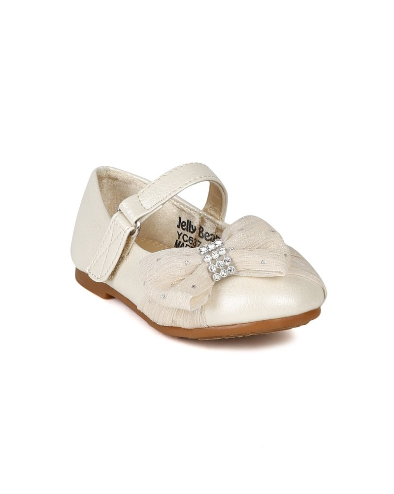 JELLY BEANS Limasa Leatherette Fabric Bow Rhinestone Mary Jane Dressy Ballerina Flat (Toddler) AH36 - Pearl (Size: Toddler 4)